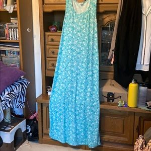 Lularoe blue dress with white flowers